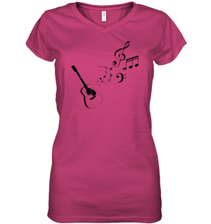 Guitar Tunes - Hanes Women's Nano-T® V-Neck T-Shirt