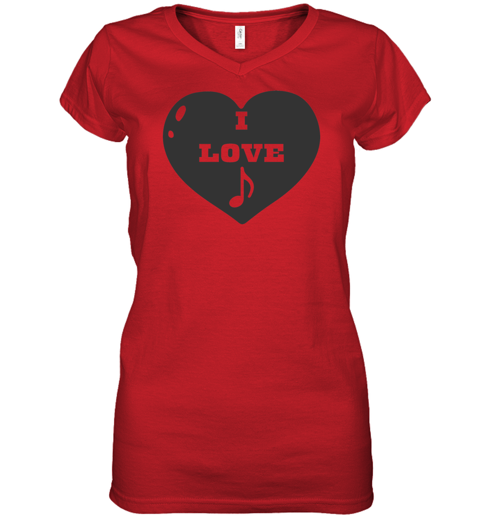 I Love Note Heart - Hanes Women's Nano-T® V-Neck T-Shirt