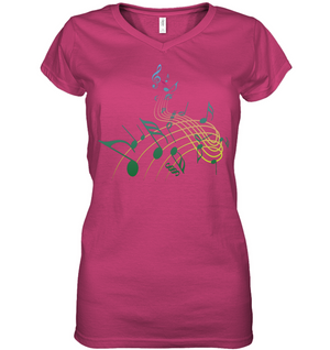 Musical Swirl - Hanes Women's Nano-T® V-Neck T-Shirt