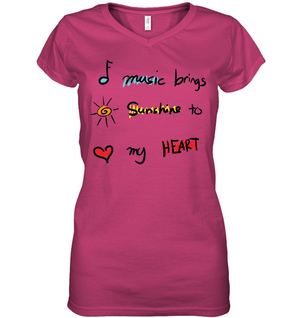 Music brings Sunshine to my Heart - Hanes Women's Nano-T® V-Neck T-Shirt