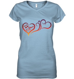 Hearts Music Fun - Hanes Women's Nano-T® V-Neck T-Shirt
