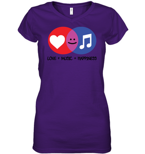 Love and Music is Happiness - Hanes Women's Nano-T® V-Neck T-Shirt