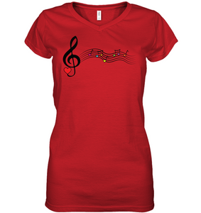 Musical Waves, Heart Notes and Colors - Hanes Women's Nano-T® V-Neck T-Shirt
