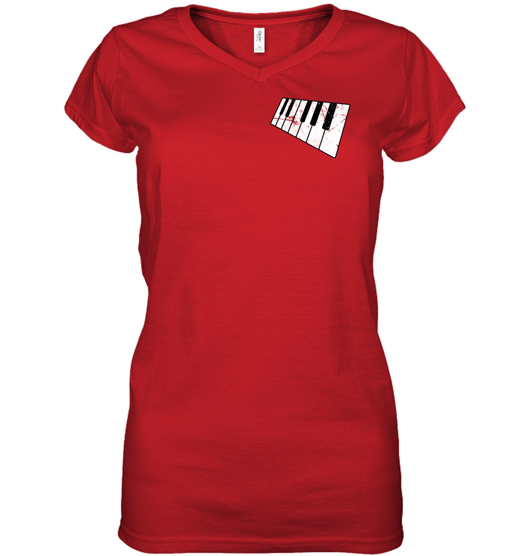 Floating Piano Keyboard (Pocket Size) - Hanes Women's Nano-T® V-Neck T-Shirt