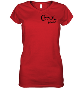 Cool Beans - Black (Pocket Size) - Hanes Women's Nano-T® V-Neck T-Shirt