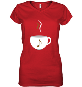I Love Coffee with a splash of music - Hanes Women's Nano-T® V-Neck T-Shirt