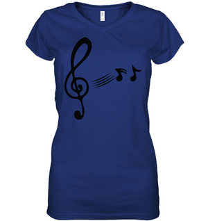 Treble Clef with floating Notes  - Hanes Women's Nano-T® V-Neck T-Shirt