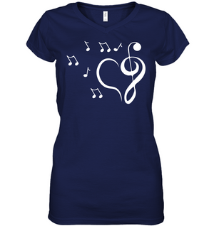 Musical heart with floating notes - Hanes Women's Nano-T® V-Neck T-Shirt
