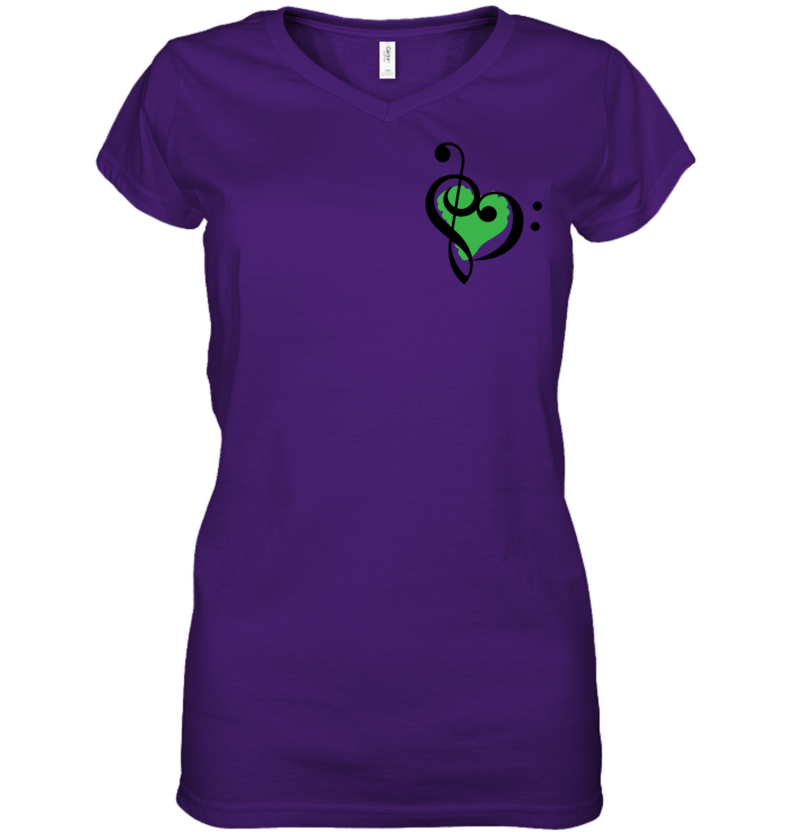 Treble Bass Green Heart (Pocket Size) - Hanes Women's Nano-T® V-Neck T-Shirt