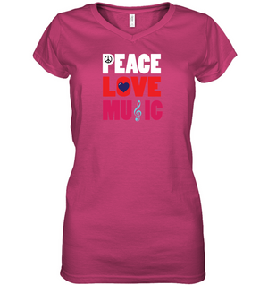 Peace Love Music - Hanes Women's Nano-T® V-Neck T-Shirt