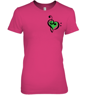Treble Bass Green Heart (Pocket Size) - Hanes Women's Nano-T® T-shirt
