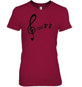 Treble Clef with floating Notes - Hanes Women's Nano-T® T-Shirt