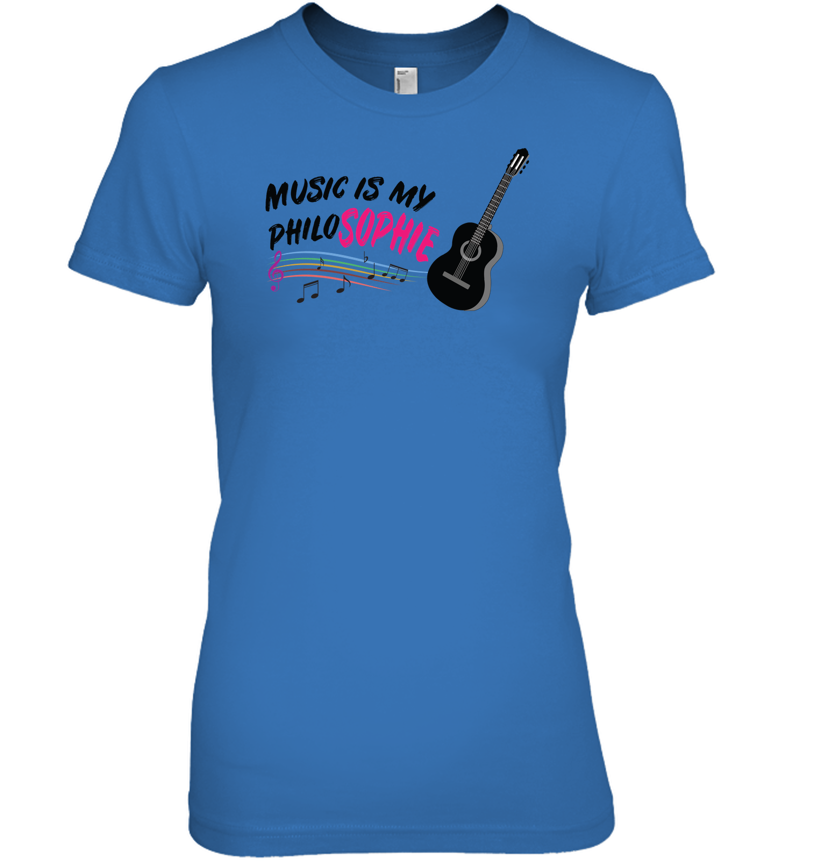 Music is my Philo-Sophie Colorful + Guitar - Hanes Women's Nano-T® T-Shirt