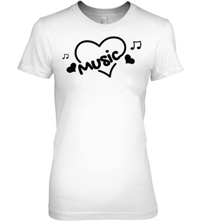 Music Hearts and Notes - Hanes Women's Nano-T® T-shirt