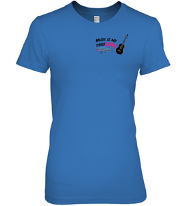 Music is my Philo-Sophie Colorful + Guitar (Pocket Size) - Hanes Women's Nano-T® T-Shirt