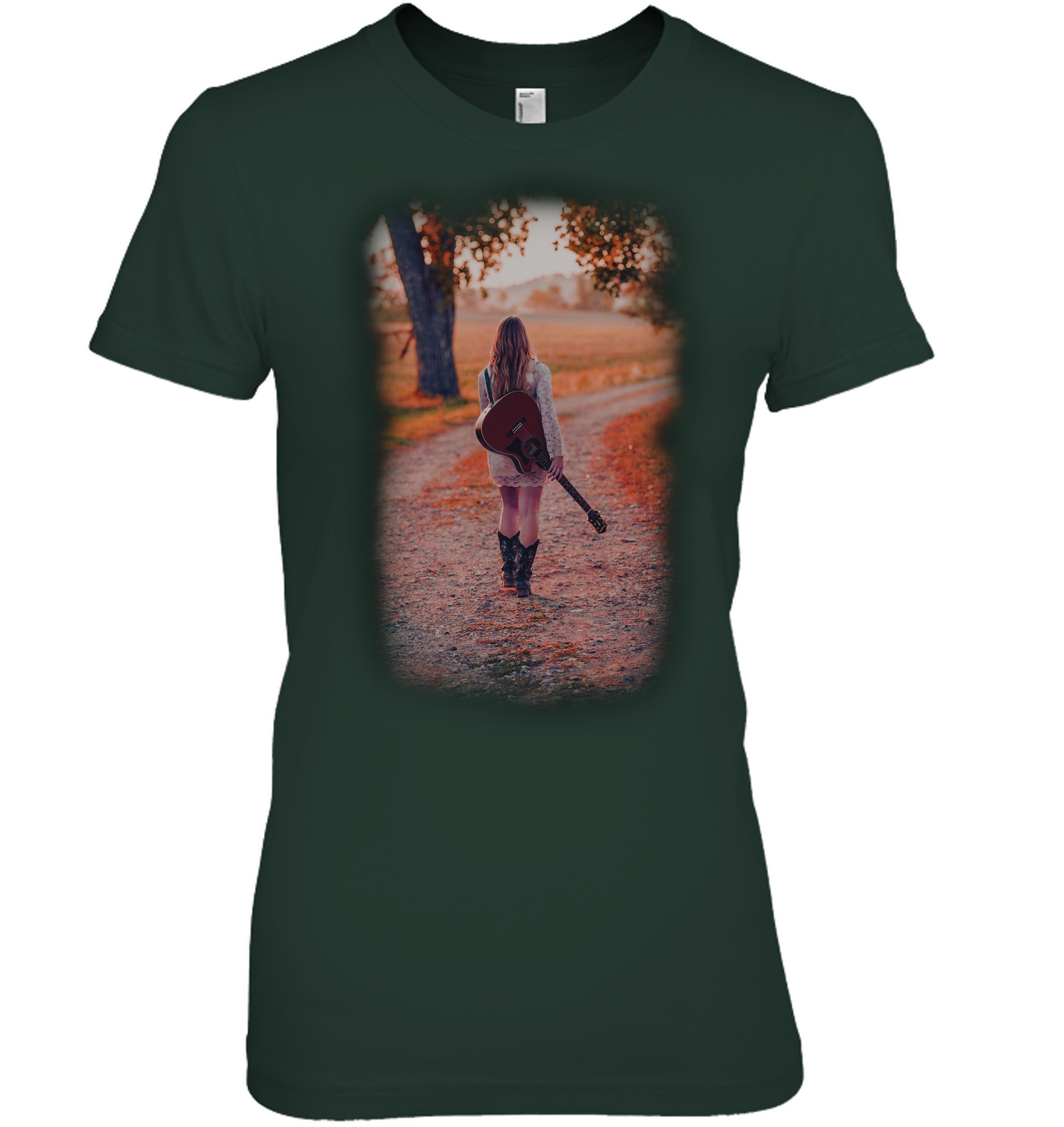 Walking with my Guitar - Hanes Women's Nano-T® T-shirt