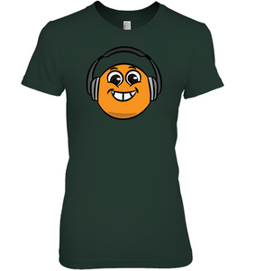 Eager Orange with Headphone - Hanes Women's Nano-T® T-Shirt