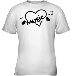 Music Hearts and Notes - Gildan Youth Short Sleeve T-Shirt