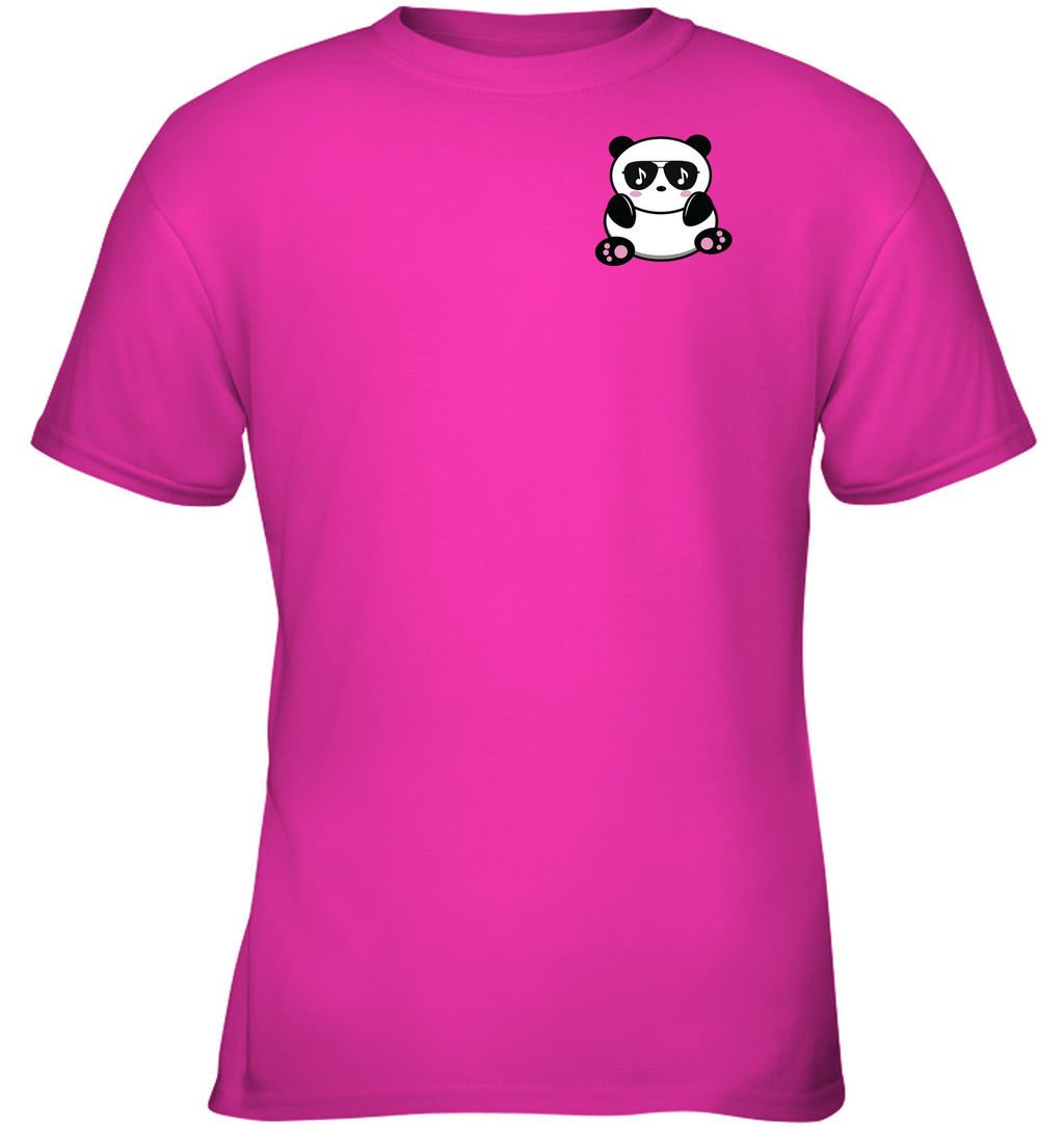 Cool Music Loving Panda feeling the beat (Pocket Size) - Gildan Youth Short Sleeve T-Shirt