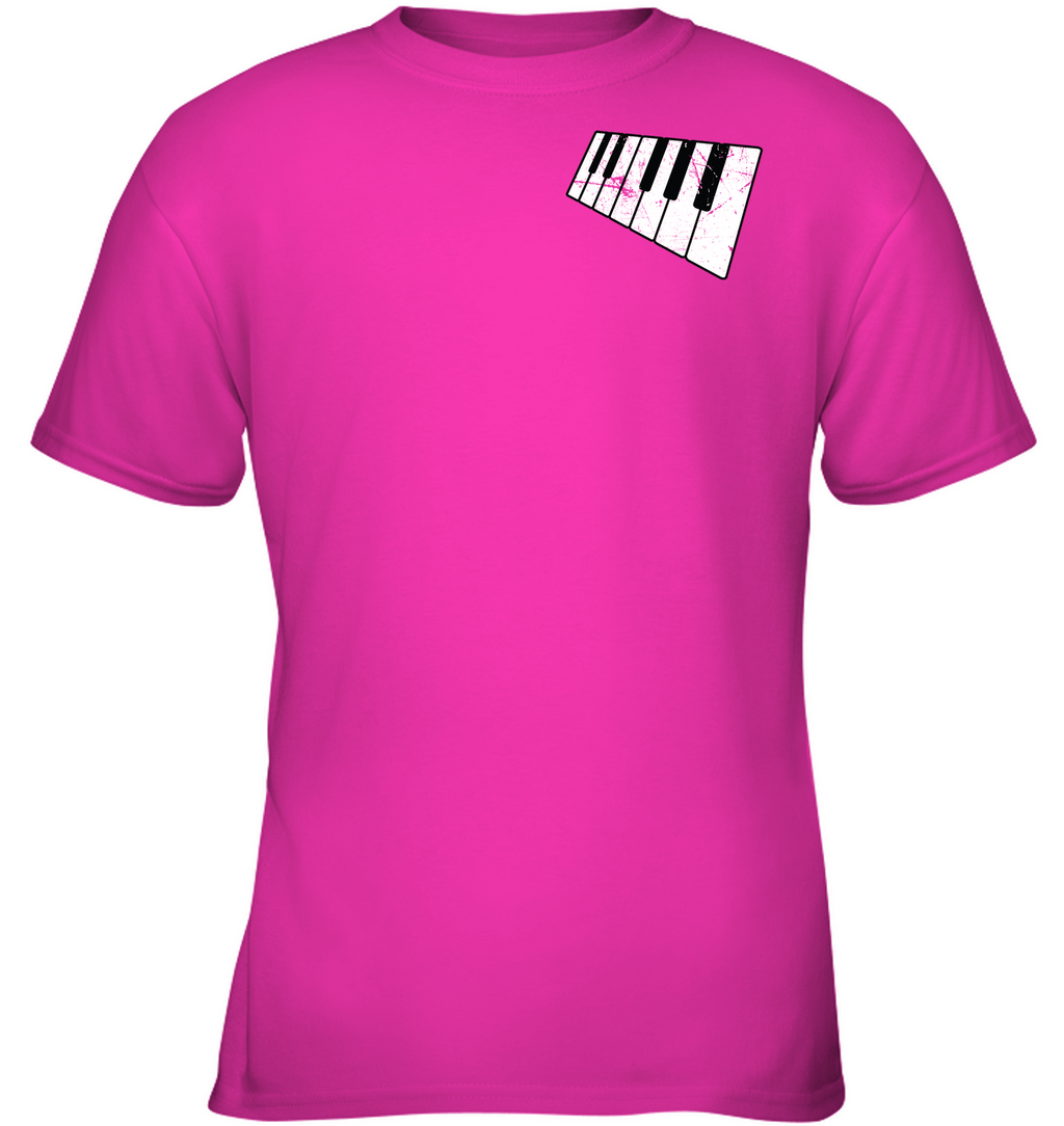 floating Piano Keyboard (Pocket Size) - Gildan Youth Short Sleeve T-Shirt