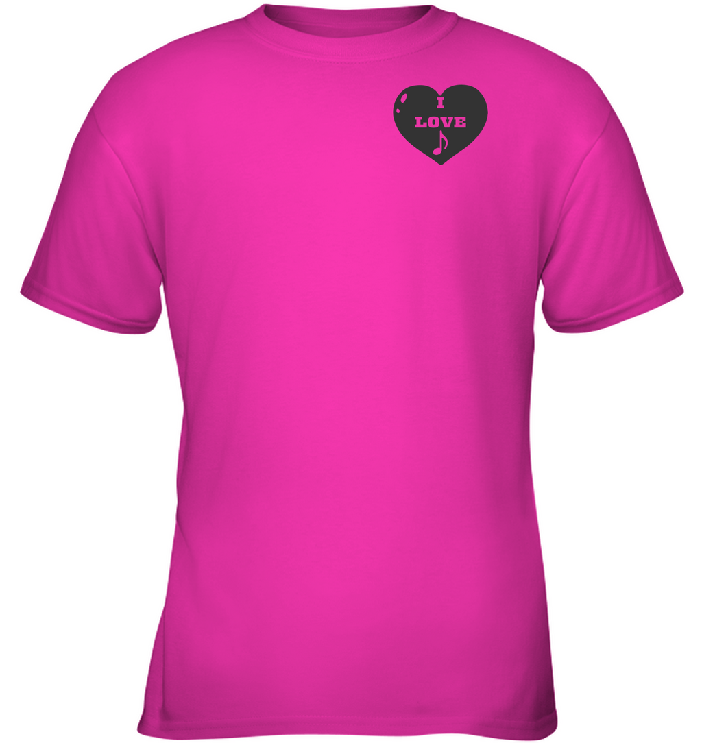I Love Note Heart (Pocket Size) - Gildan Youth Short Sleeve T-Shirt