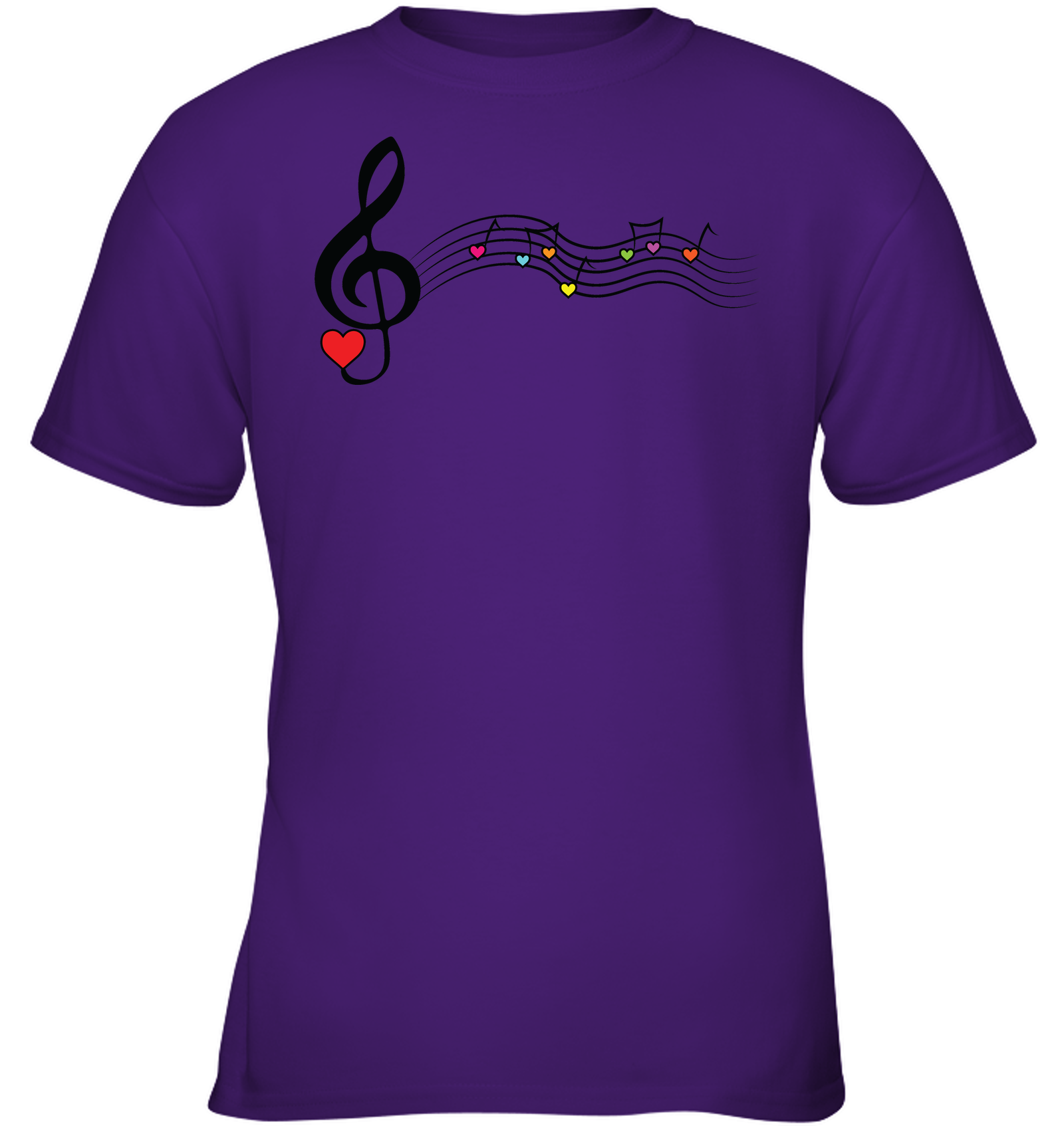 Musical Waves, Heart Notes and Colors - Gildan Youth Short Sleeve T-Shirt