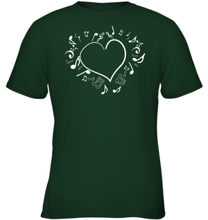 Floating Notes Heart White - Gildan Youth Short Sleeve T-Shirt