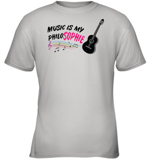 Music is my Philo-Sophie Colorful + Guitar - Gildan Youth Short Sleeve T-Shirt