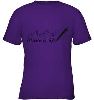 Music is Life Note - Gildan Youth Short Sleeve T-Shirt