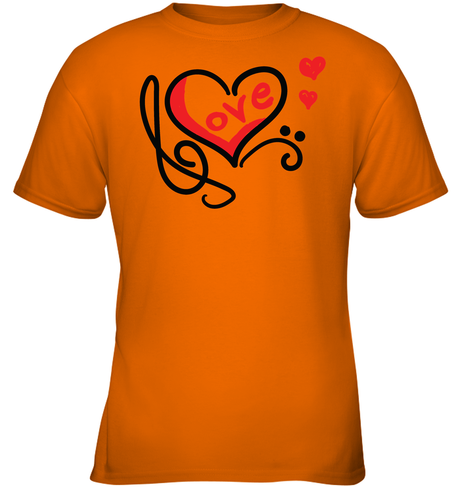Love Music Heart Red - Gildan Youth Short Sleeve T-Shirt