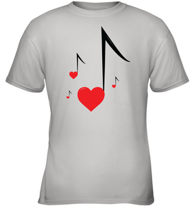 Four Floating Heart Notes  -  Gildan Youth Short Sleeve T-Shirt