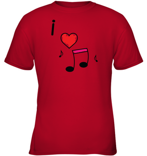 I Love Music Hearts and Fun - Gildan Youth Short Sleeve T-Shirt