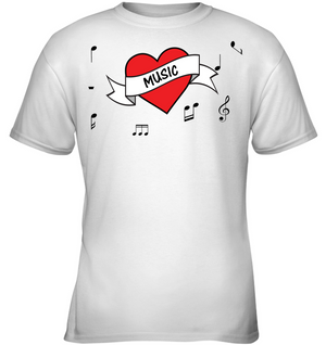 Musical Heart  - Gildan Youth Short Sleeve T-Shirt