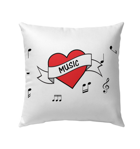 Musical Heart  - Outdoor Pillow
