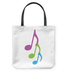 Three colorful musical notes - Basketweave Tote Bag