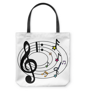 Musical Notes Spiral - Basketweave Tote Bag