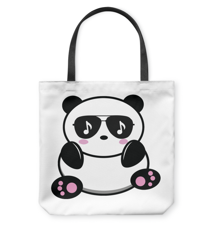 Cool Music Loving Panda feeling the beat- Basketweave Tote Bag