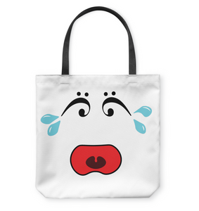 I Miss Music Teary Face - Basketweave Tote Bag