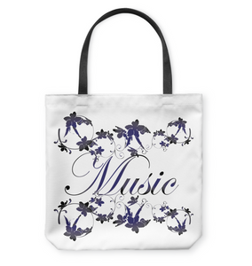 Music with Flowers - Basketweave Tote Bag