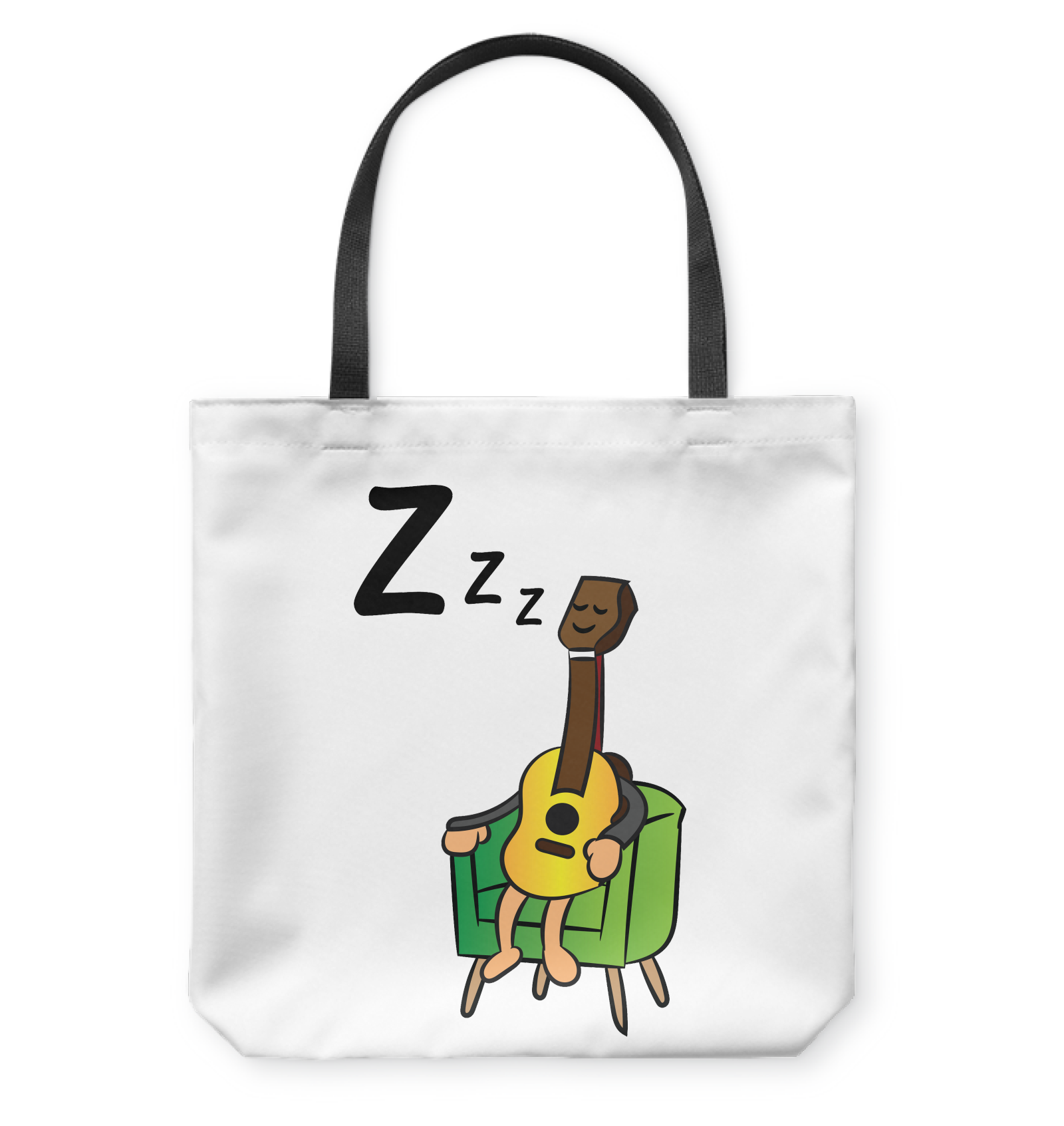 Sleeping Guitar - Basketweave Tote Bag
