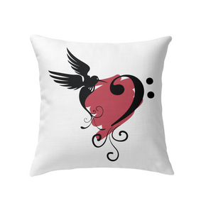 Bird and Musical Heart Red - Indoor Pillow