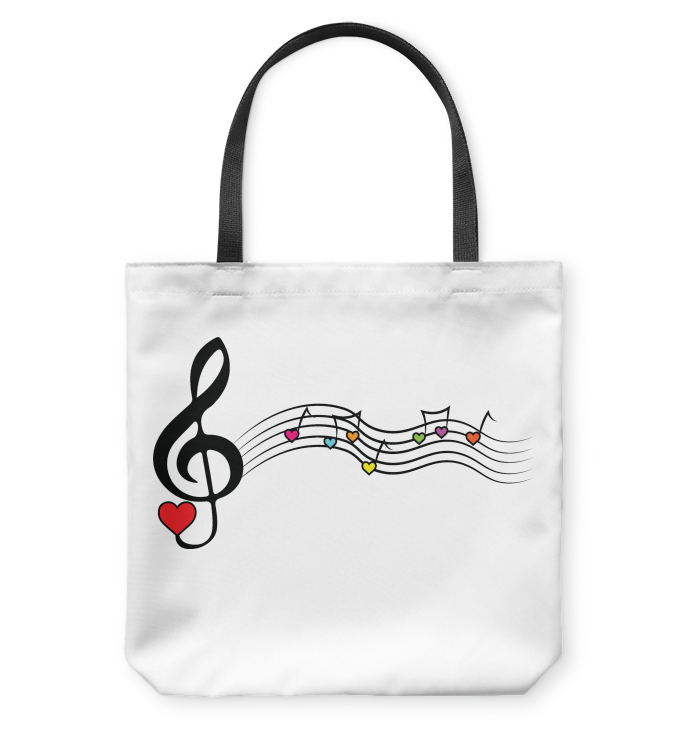 Musical Waves, Heart Notes and Colors - Basketweave Tote Bag