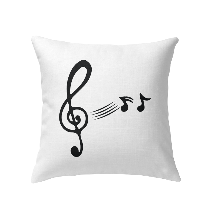 Treble Clef with floating Notes  - Indoor Pillow