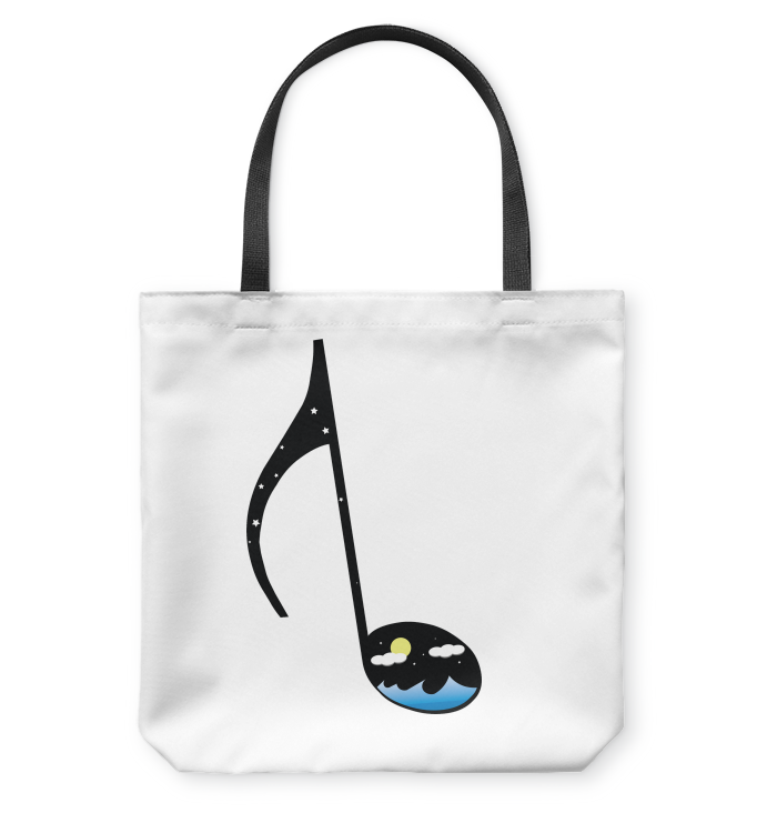 Night Seas Note - Basketweave Tote Bag