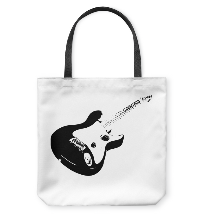 Cool black electric guitar - Basketweave Tote Bag