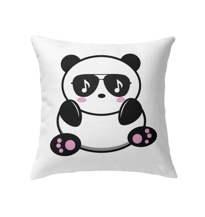 Cool Music Loving Panda feeling the beat - Indoor Pillow