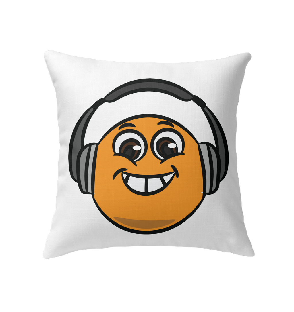 Eager Orange with Headphone - Indoor Pillow