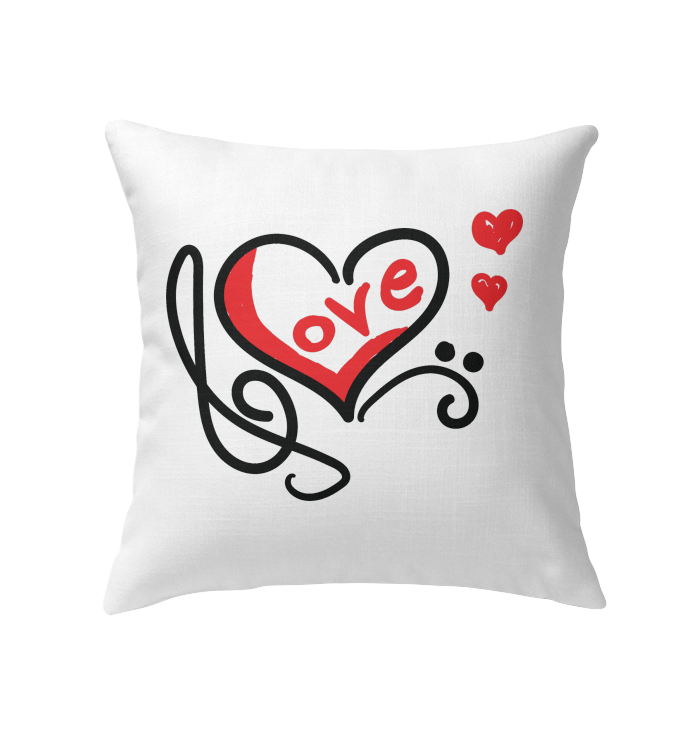 Love Music Heart Red - Indoor Pillow