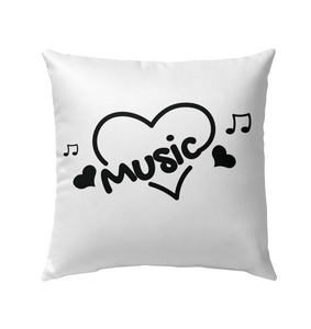 Music Hearts and Notes - Outdoor Pillow