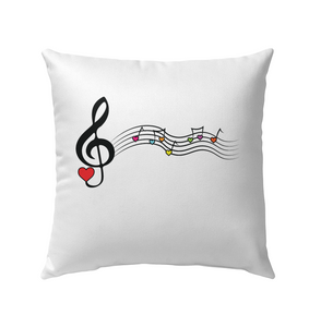 Musical Waves, Heart Notes and Colors - Outdoor Pillow